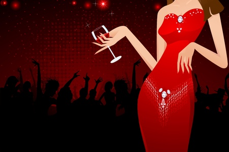 evening dress: illustration of lady holding glass of drink in party background Illustration