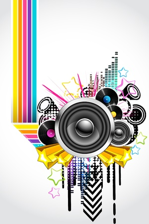 electronic music: illustration of abstract musical background in retro style Illustration