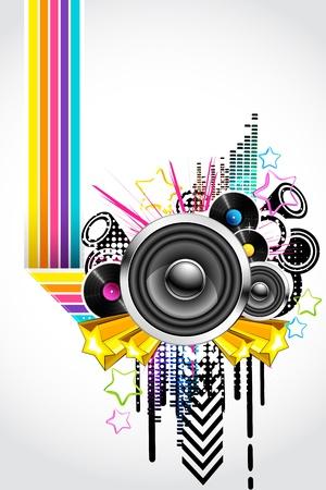 musica electronica: Ilustración de fondo abstracto musical en estilo retro