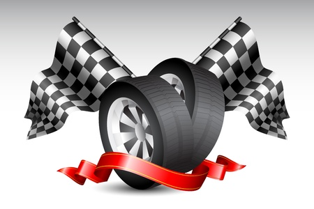 formulas: illustration of checkered racing flag with tyre wrapped in ribbon