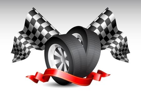 cerchione: illustrazione della bandiera a scacchi con gomme da corsa avvolto in nastro