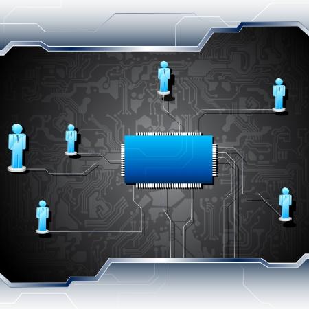 componentes electronicos: ilustraci�n de figuras humanas conectadas en red en la placa base