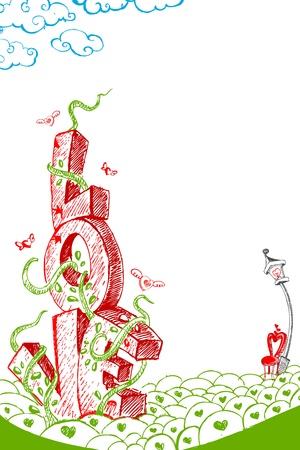 truelove: illustrazione della carta di amore colorato in stile Doodle Vettoriali