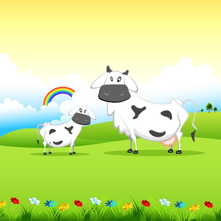 grazing land: illustration of cow grazing in field in sunny morning Illustration