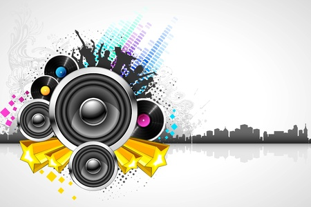 illustration of abstract musical background on cityscape Vector
