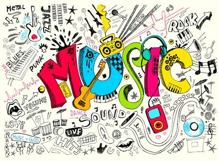 instruments de musique: illustration de la musique de fond dans le style doodle