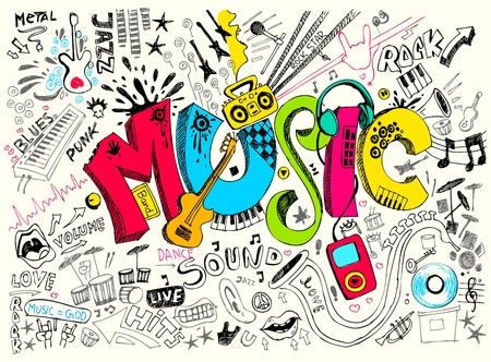 music instrument: illustration of music background in doodle style