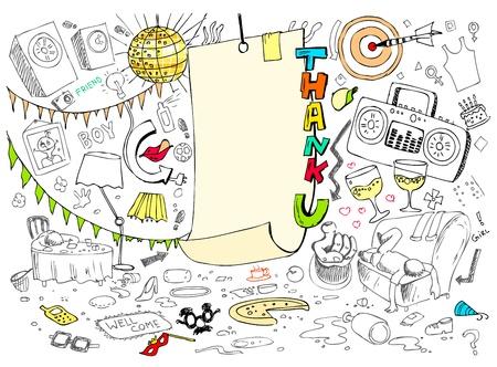 thankful: ilustraci�n de la tarjeta de agradecimiento en el estilo de dibujo Vectores