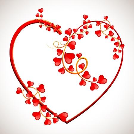 illustrazione di albero dell'amore formata con cuoricini