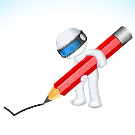 schaalbaar: illustratie van 3d man in vector volledig schaalbaar schrijven met potlood Stock Illustratie