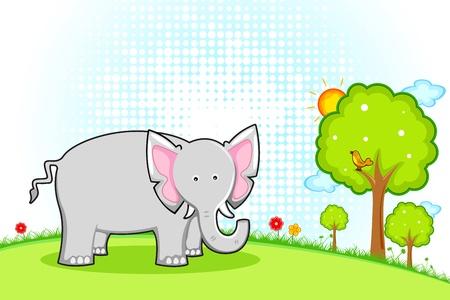 ivory: illustration of elephant standing in natural landscape Illustration