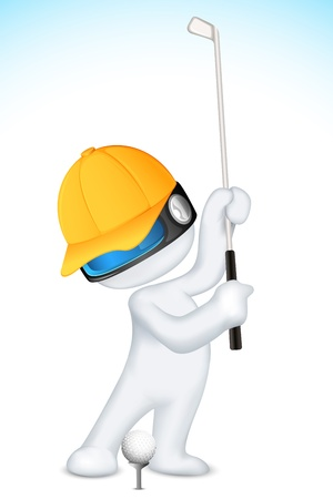 fully: illustration of 3d man in vector fully scalable playing golf Illustration