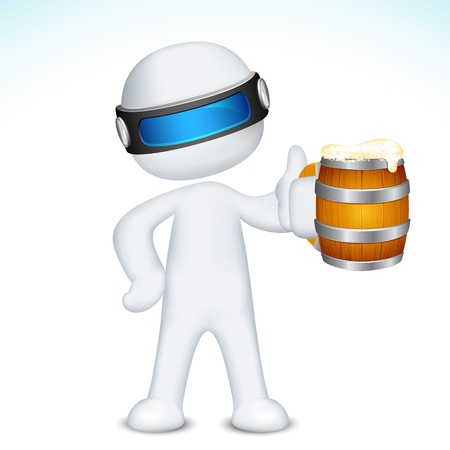 illustration of 3d man in vector fully scalable standing with beer mug Vector