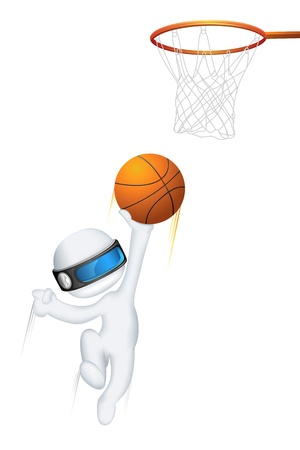 schaalbaar: illustratie van 3d man in vector volledig schaalbaar het spelen van basketbal