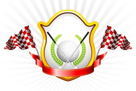 golf stick: ilustraci�n de golf de la pelota y palo de golf con trofeo de oro Vectores