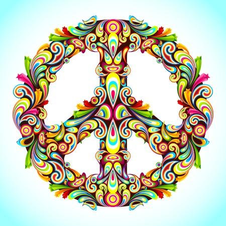 uithangbord: illustratie van vredesteken gemaakt van kleurrijke swirl