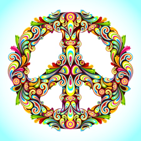 peace and love: illustration of peace sign made of colorful swirl