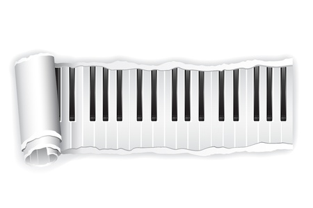 old piano: illustration of torn paper piano keypad rolled in white background