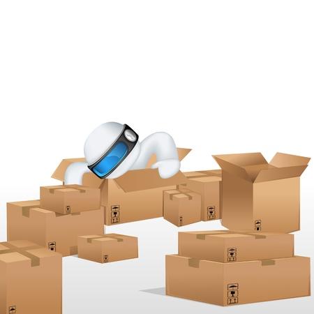 schaalbaar: illustratie van 3d mens in vector volledig scalable zitten in kartonnen doos voor vracht Stock Illustratie