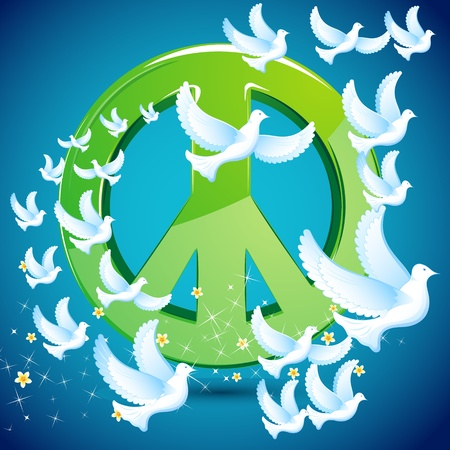 illustration of dove flying around peace symbol illustration