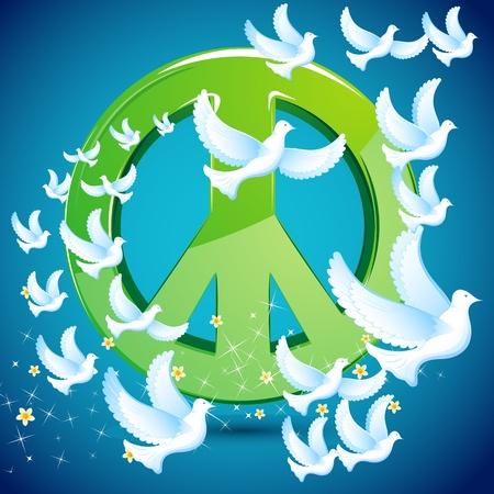 illustration of dove flying around peace symbol illustration