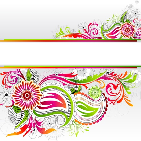 illustration of colorful floral banner with copy space Vector