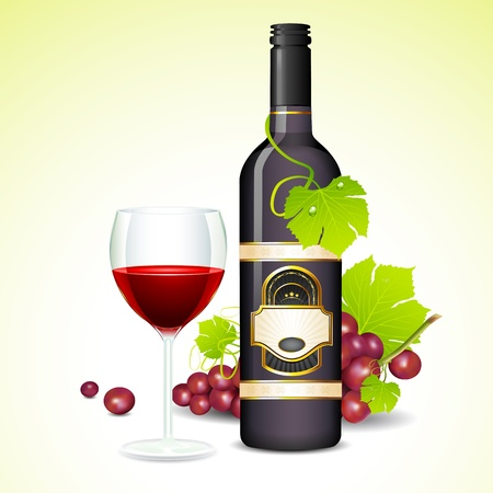 unopened: illustration of grape with bottle of wine and glass full of wine