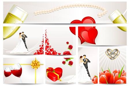 wedding reception: illustration of set of wedding reception invitation card