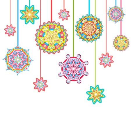 illustration of hanging colorful floral pattern in retro style Vector