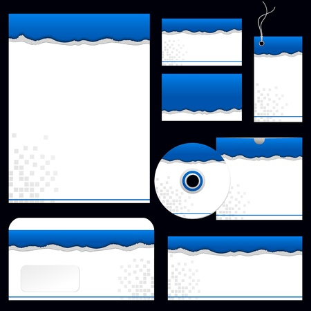 letter head: illustration of torn paper business template with business card,cd cover and letter head