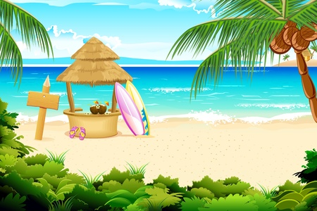 paradise beach: illustration of straw hut and surfing board in beach view