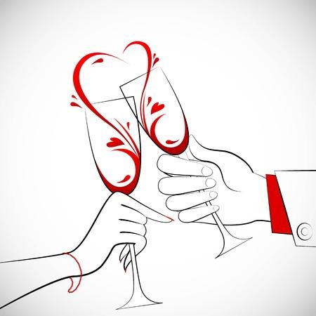 illustratie van bedrijf paar glas wijn vormen hartvorm splash Vector Illustratie