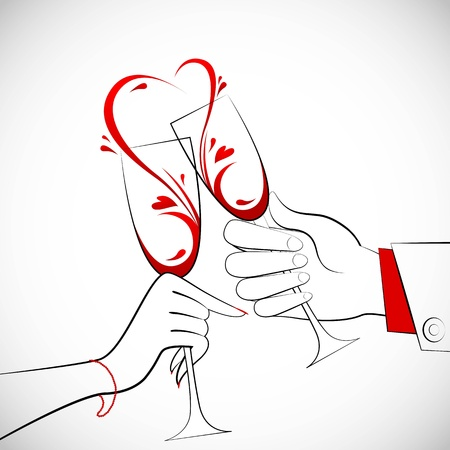 romantic getaway: illustration of couple holding glass of wine forming heart shape splash Illustration