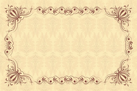 illustration of vintage floral frame on seamless background Vector