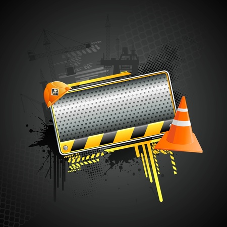 illustration of under construction background with hard hat and stopper Vector