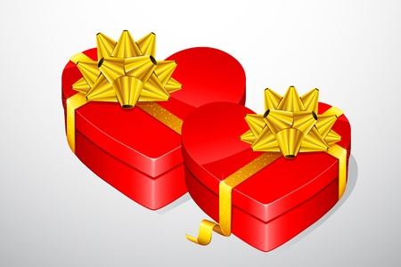 illustration of pair of heart shaped gift box Stock Illustration - 11979327