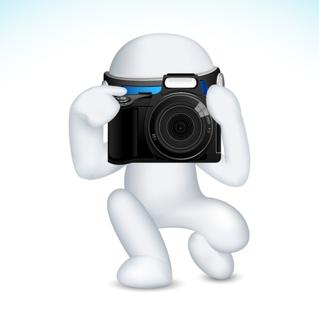 hombre disparando: 3d ilustración del hombre en el vector completamente escalable con la cámara