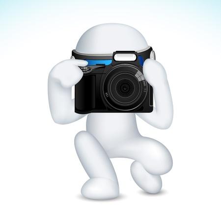 Macchina fotografica: illustrazione di uomo in 3D vettoriale completamente scalabile con la macchina fotografica