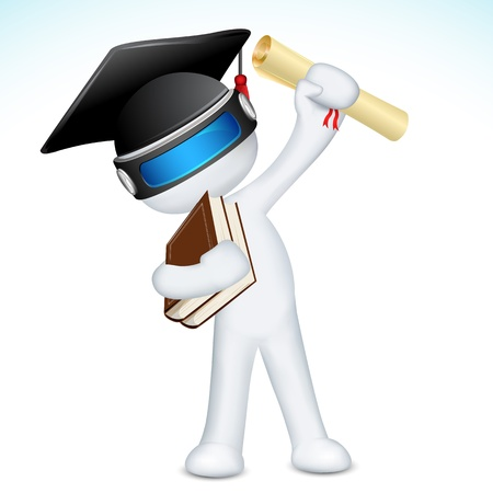 degree: illustrazione di uomo in 3D vettoriale completamente scalabile con il grado e il cappello di laurea
