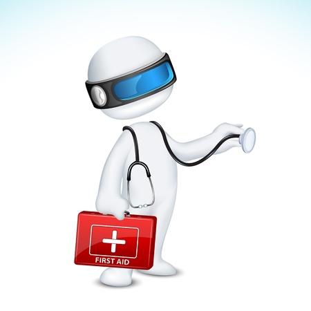 schaalbaar: illustratie van 3d doctor in de vector volledig schaalbaar staat met EHBO-doos en stethoscoop Stock Illustratie