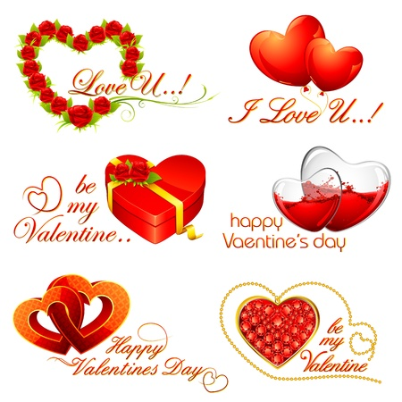 jewel box: illustration of set of love text with element for valentine