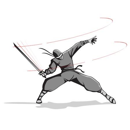 illustration of ninja fighter attacking with sword illustration