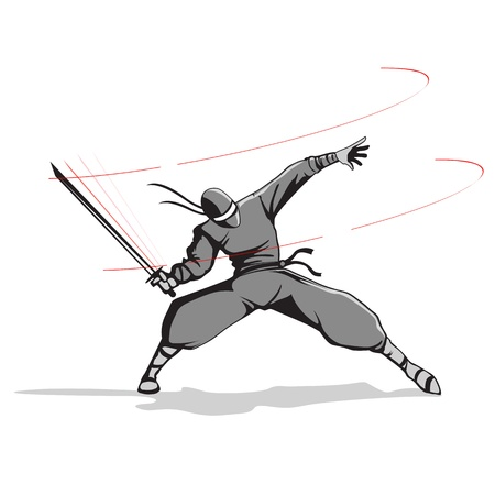 karate fighter: illustration of ninja fighter attacking with sword