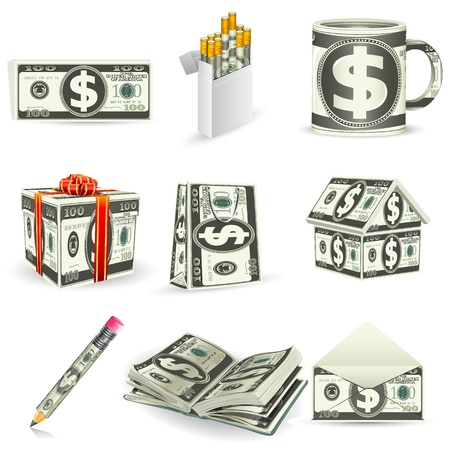 illustration of set of things made of dollar note Vector