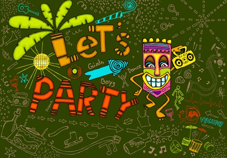 tiki party: illustration of colorful tiki party card in doodle style