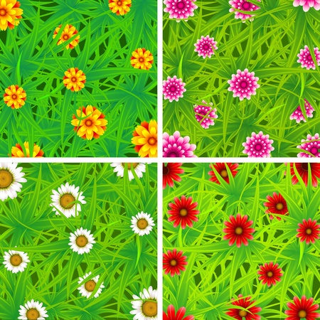 illustration of top view of different flower in garden illustration