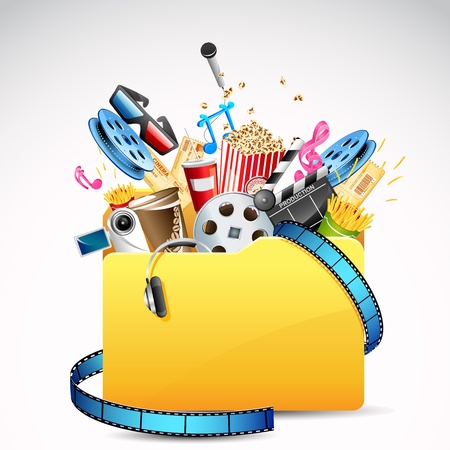 ilustración de la carpeta llena de entretenimiento y el objeto del cine