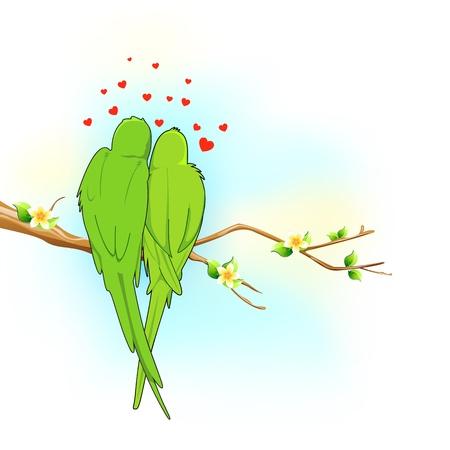 loros verdes: ilustraci�n de par de sesi�n del loro en el �rbol en el estado de �nimo rom�ntico
