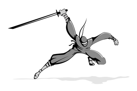 illustration of ninja fighter in action with sword Vector