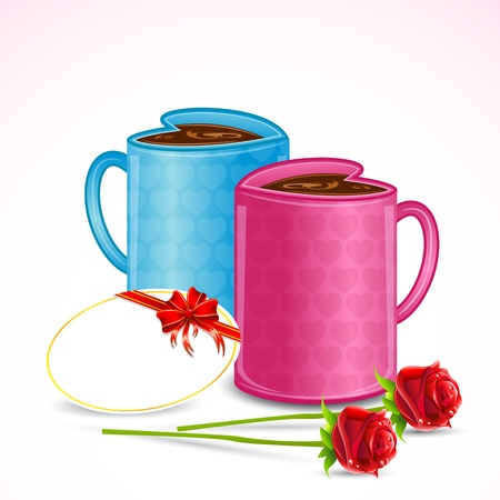 illustration of pair of heart shape coffee mug with rose Vector